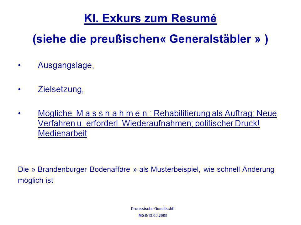 Kl. Exkurs zum Resumé (siehe die preußischen« Generalstäbler » )