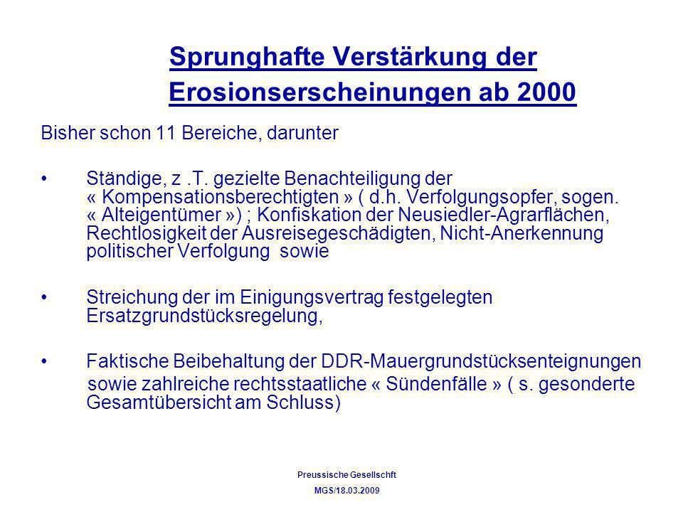 Sprunghafte Verstärkung der Erosionserscheinungen ab 2000
