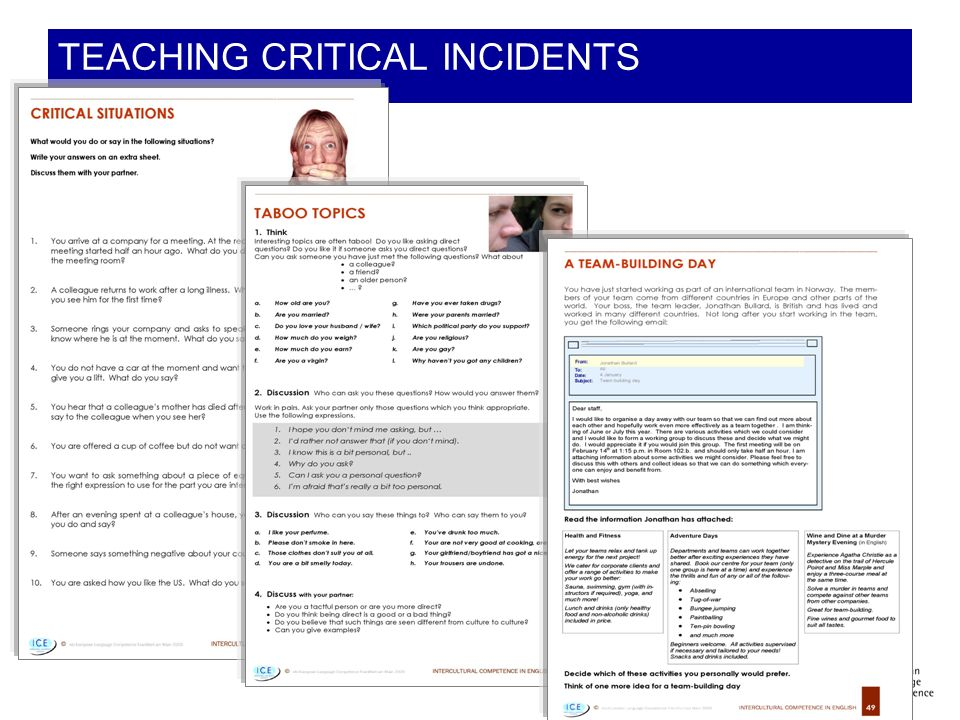 TEACHING CRITICAL INCIDENTS