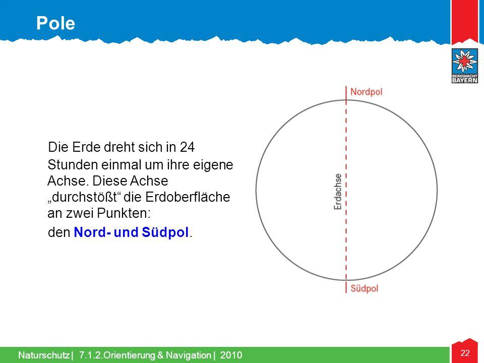 """Pole Die Erde dreht sich in 24 Stunden einmal um ihre eigene Achse. Diese Achse """"durchstößt die Erdoberfläche an zwei Punkten:"""