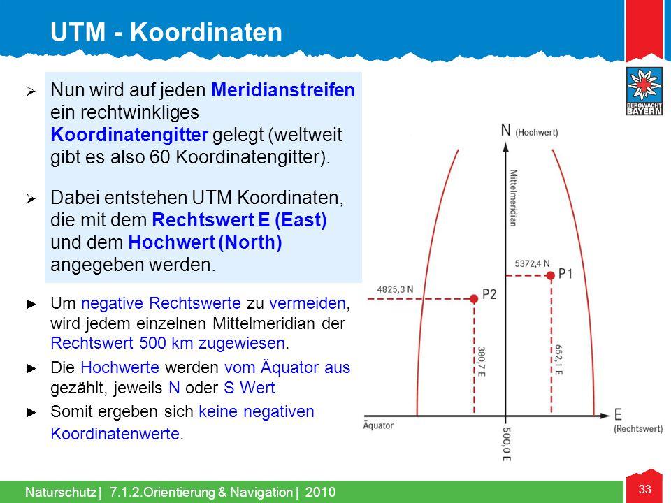 UTM - Koordinaten Nun wird auf jeden Meridianstreifen ein rechtwinkliges Koordinatengitter gelegt (weltweit gibt es also 60 Koordinatengitter).