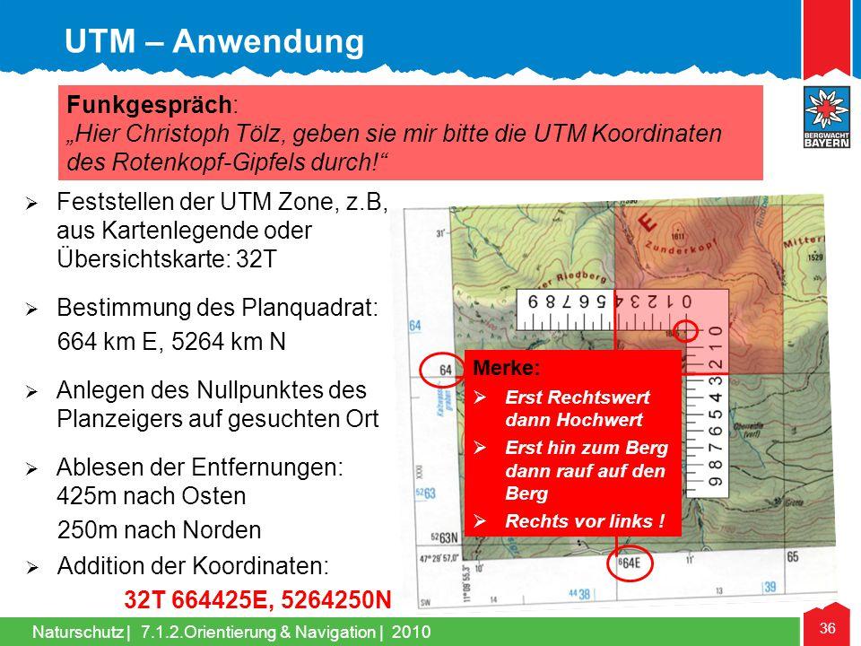 UTM – Anwendung Funkgespräch: