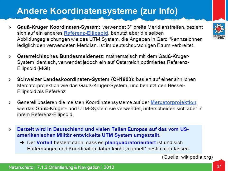 Andere Koordinatensysteme (zur Info)