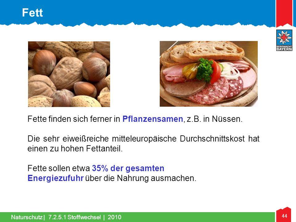 Fett Fette finden sich ferner in Pflanzensamen, z.B. in Nüssen.