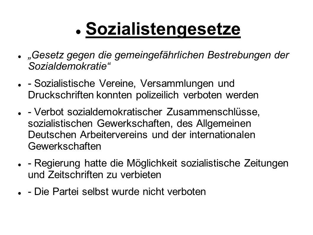 """Sozialistengesetze """"Gesetz gegen die gemeingefährlichen Bestrebungen der Sozialdemokratie"""