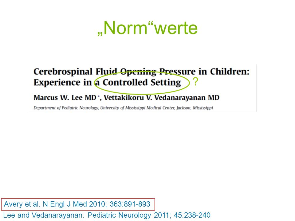 """""""Norm werte Avery et al. N Engl J Med 2010; 363:891-893"""