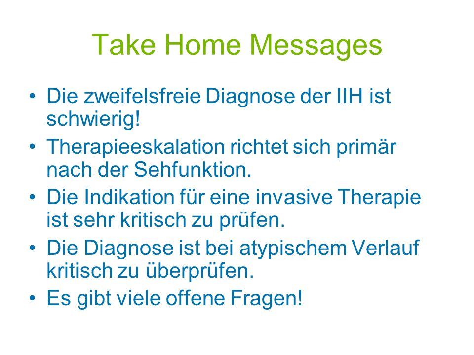 Take Home Messages Die zweifelsfreie Diagnose der IIH ist schwierig!