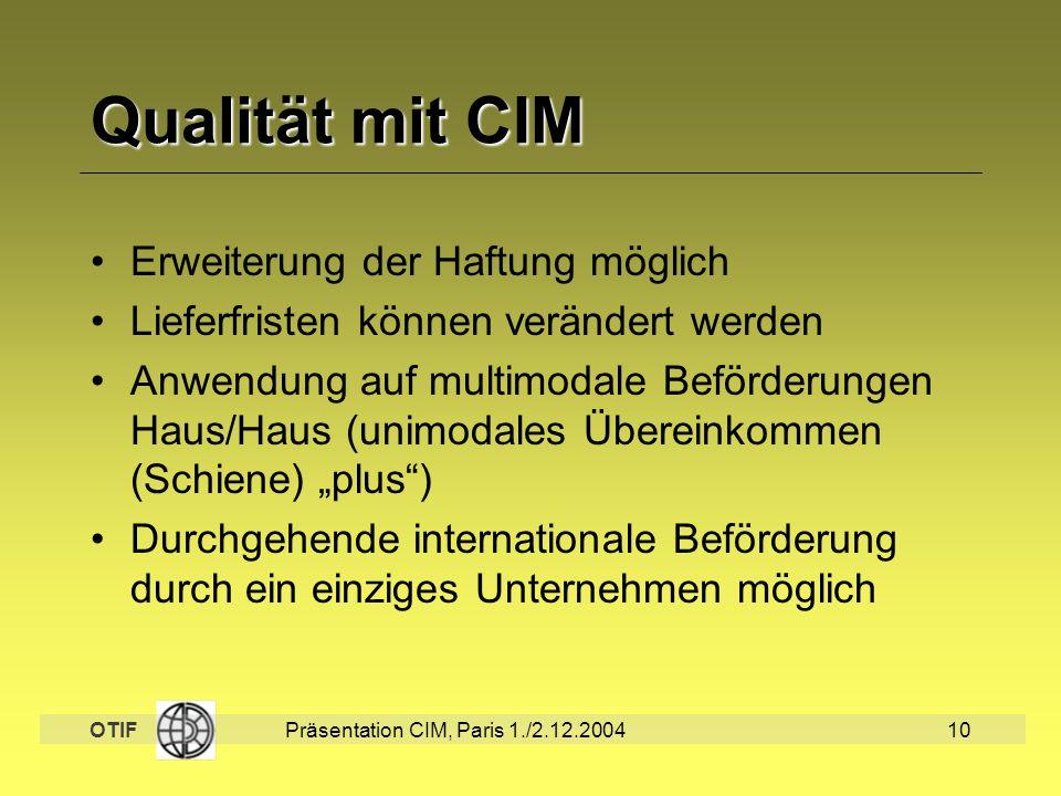 Qualität mit CIM Erweiterung der Haftung möglich