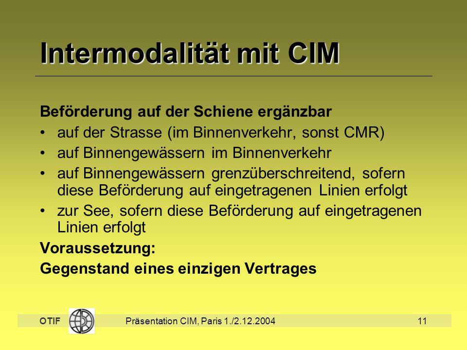 Intermodalität mit CIM