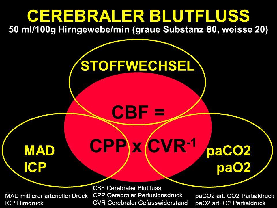 CEREBRALER BLUTFLUSS 50 ml/100g Hirngewebe/min (graue Substanz 80, weisse 20)