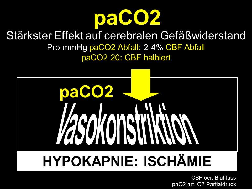 paCO2 paCO2 HYPOKAPNIE: ISCHÄMIE Vasokonstriktion