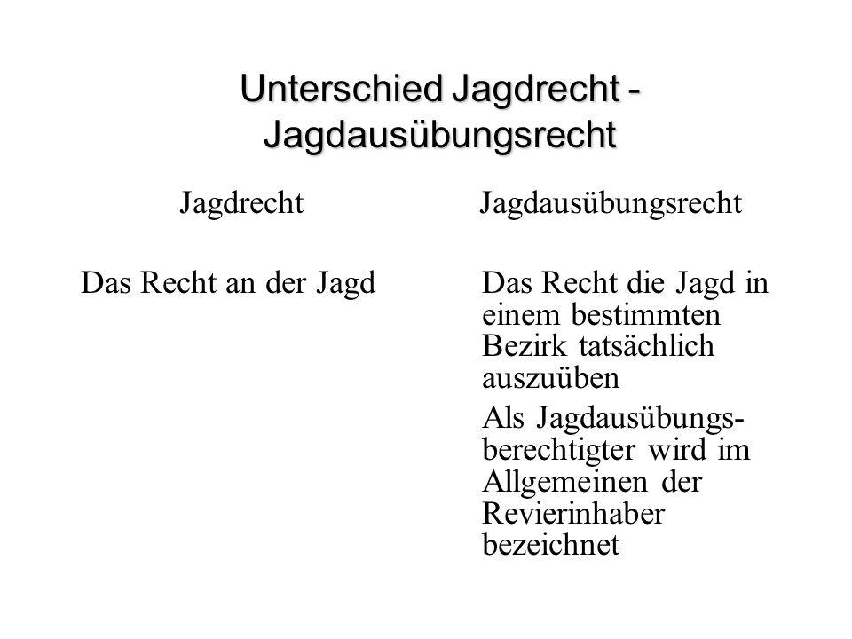 Unterschied Jagdrecht -Jagdausübungsrecht