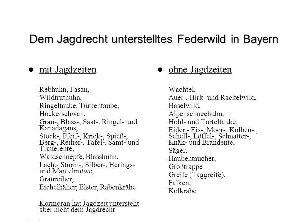 Dem Jagdrecht unterstelltes Federwild in Bayern