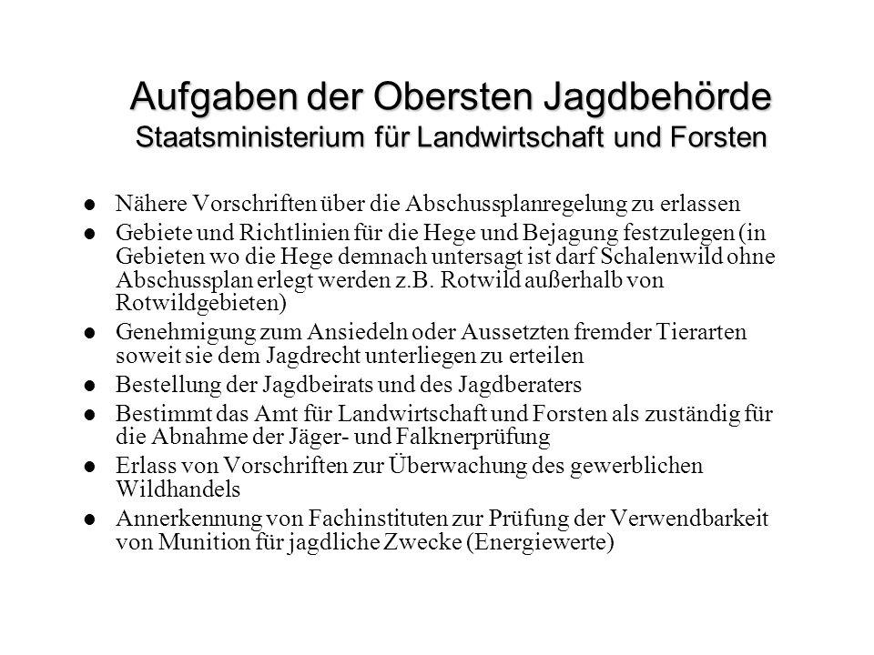 Aufgaben der Obersten Jagdbehörde Staatsministerium für Landwirtschaft und Forsten