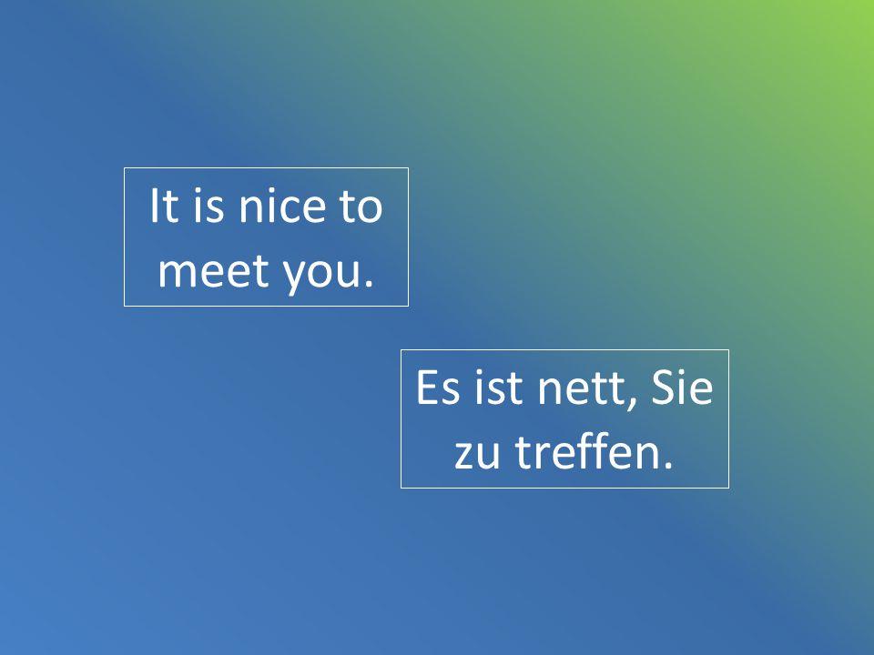 Es ist nett, Sie zu treffen.