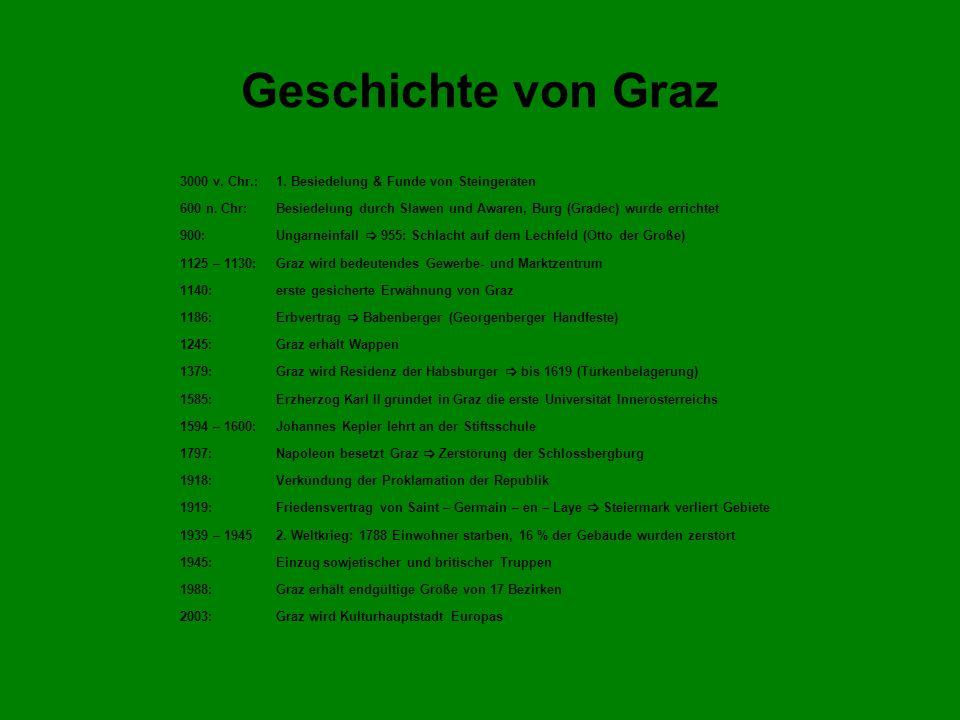 Geschichte von Graz 3000 v. Chr.: 1. Besiedelung & Funde von Steingeräten.