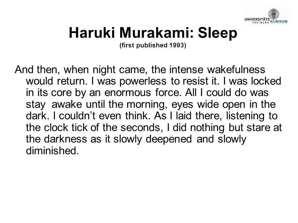 Haruki Murakami: Sleep (first published 1993)