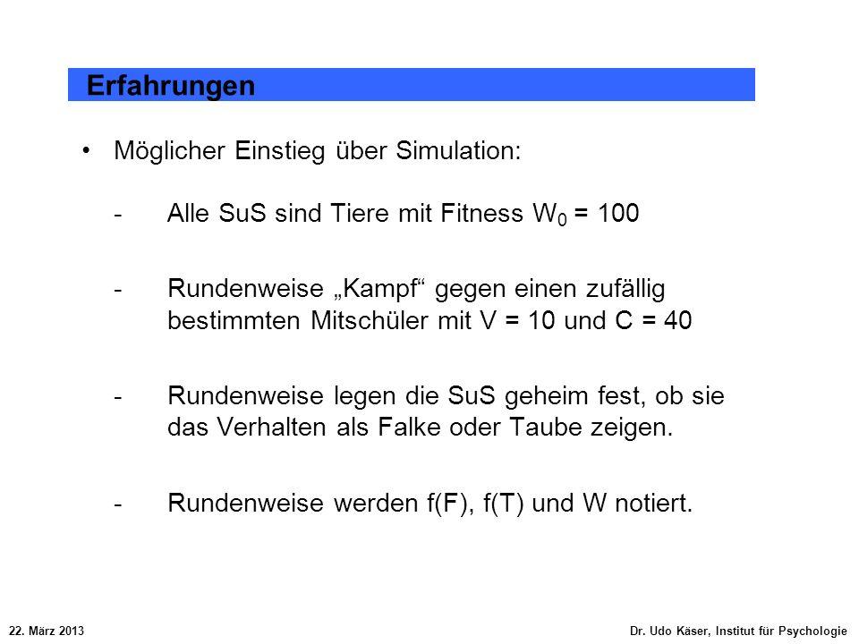 Erfahrungen Möglicher Einstieg über Simulation: - Alle SuS sind Tiere mit Fitness W0 = 100.