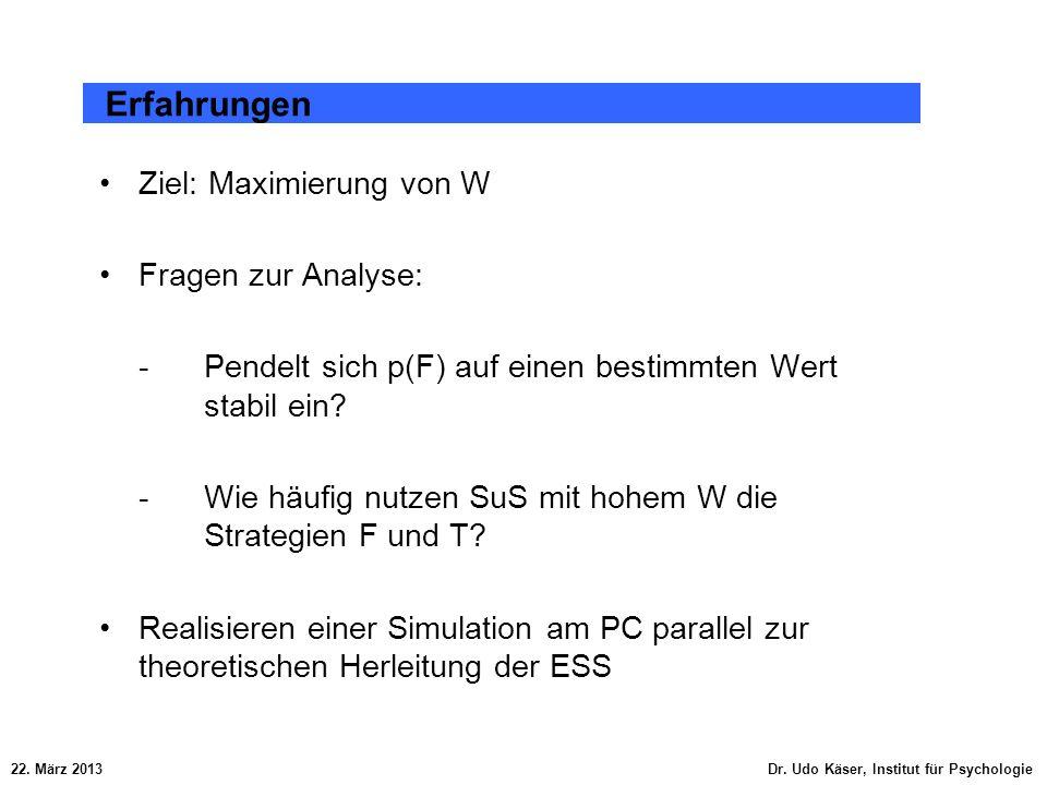 Erfahrungen Ziel: Maximierung von W Fragen zur Analyse: