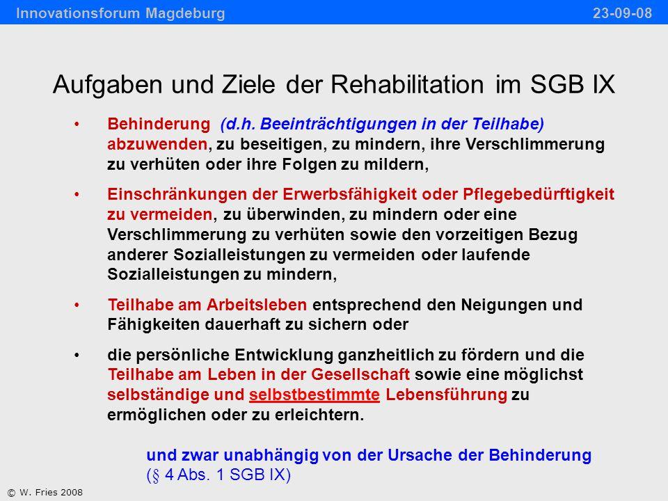 Aufgaben und Ziele der Rehabilitation im SGB IX