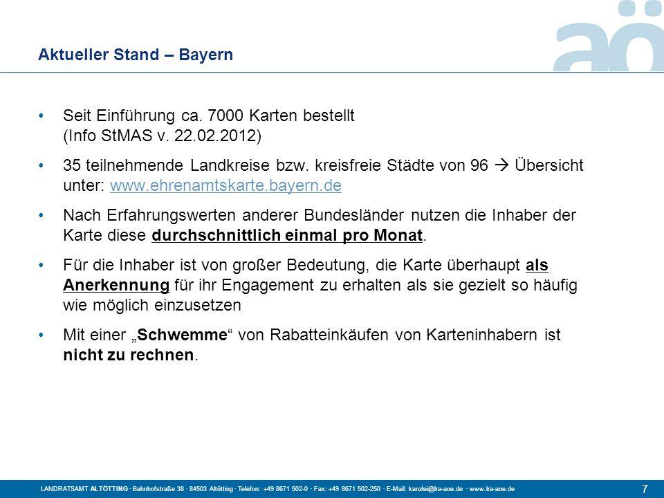 Aktueller Stand – Bayern