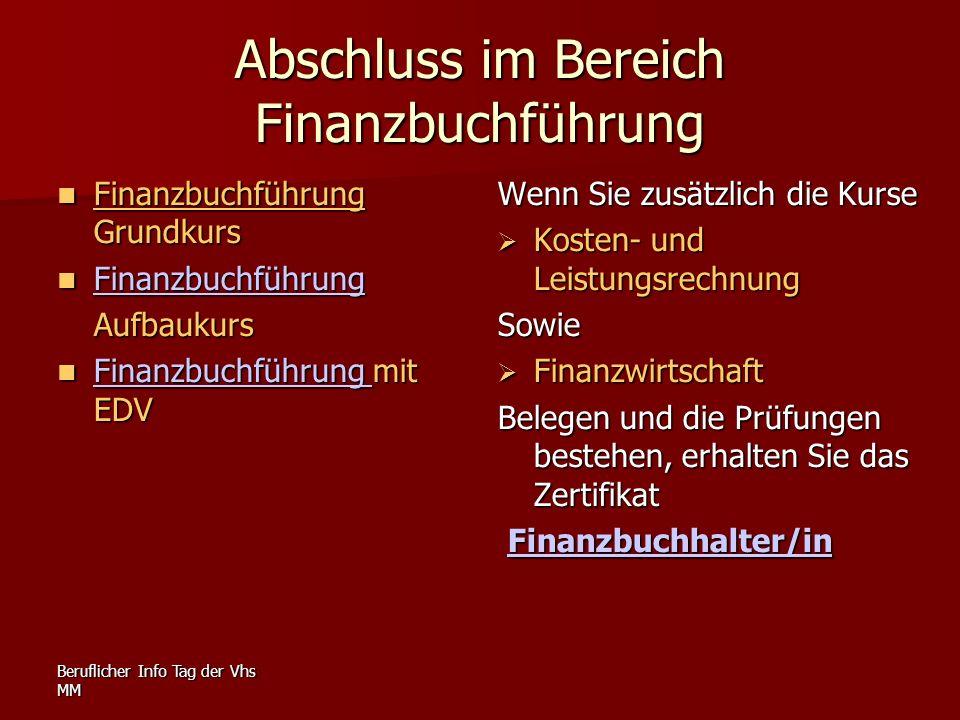 Abschluss im Bereich Finanzbuchführung