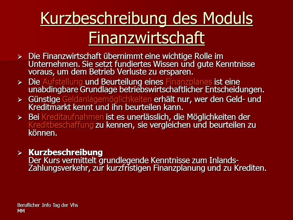 Kurzbeschreibung des Moduls Finanzwirtschaft