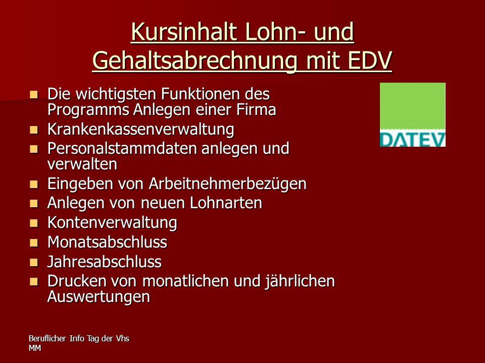Kursinhalt Lohn- und Gehaltsabrechnung mit EDV