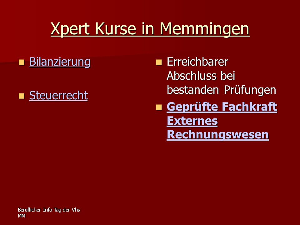 Xpert Kurse in Memmingen