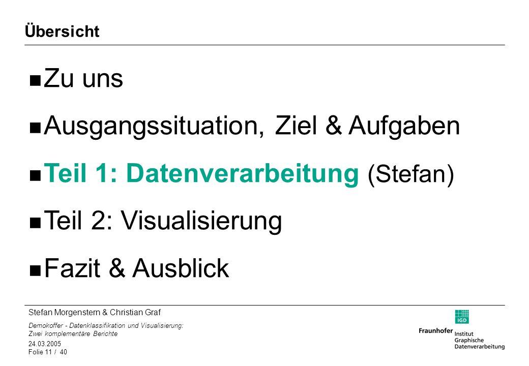 Ausgangssituation, Ziel & Aufgaben Teil 1: Datenverarbeitung (Stefan)
