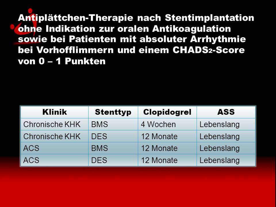 Antiplättchen-Therapie nach Stentimplantation