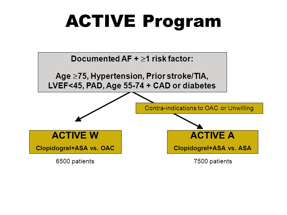 ACTIVE Program ACTIVE W ACTIVE A Documented AF + 1 risk factor: