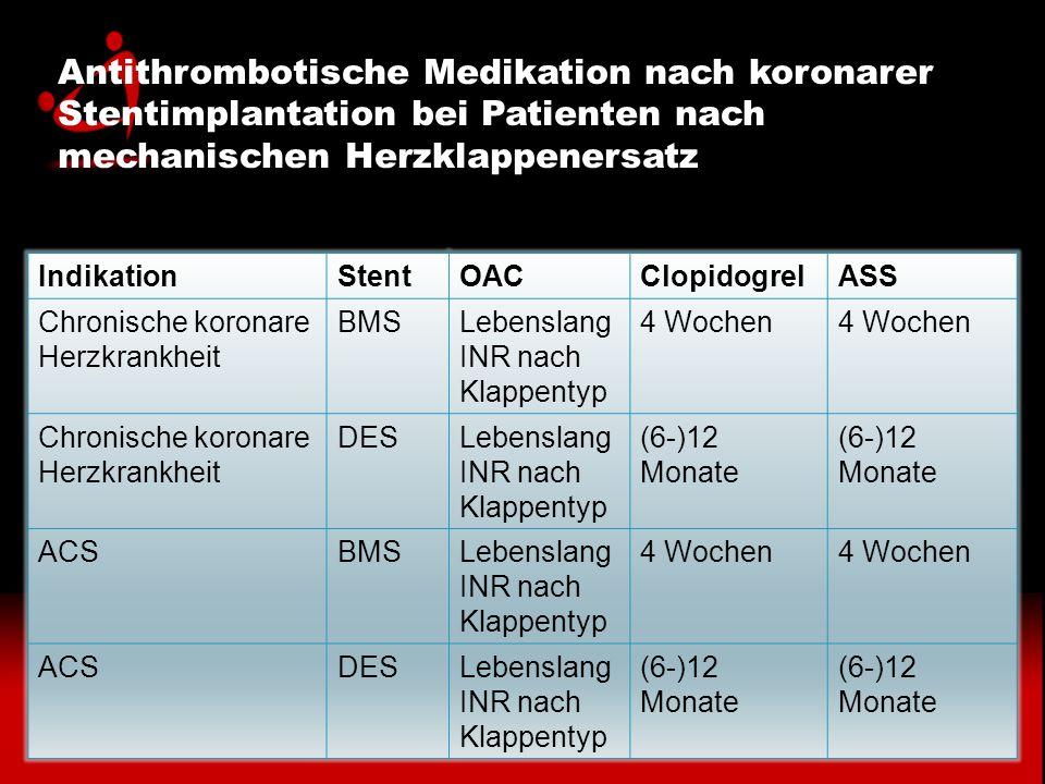 Antithrombotische Medikation nach koronarer Stentimplantation bei Patienten nach mechanischen Herzklappenersatz