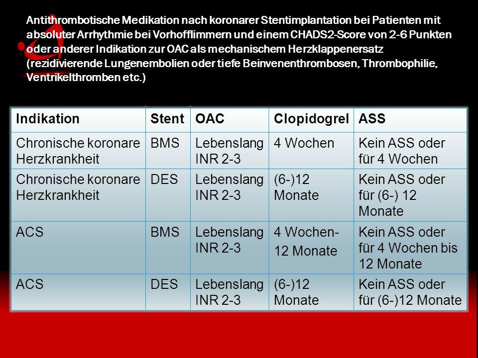 Chronische koronare Herzkrankheit BMS Lebenslang INR 2-3 4 Wochen