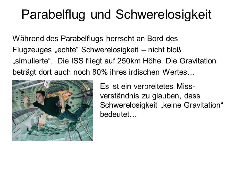 Parabelflug und Schwerelosigkeit