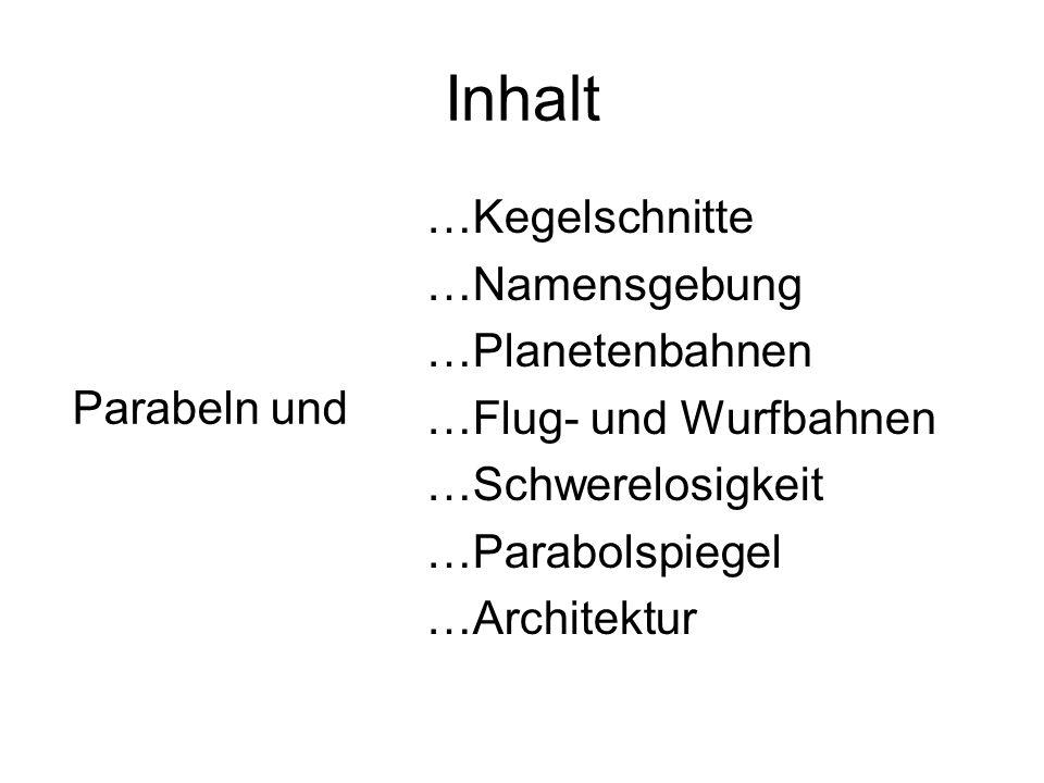 Inhalt …Kegelschnitte …Namensgebung …Planetenbahnen