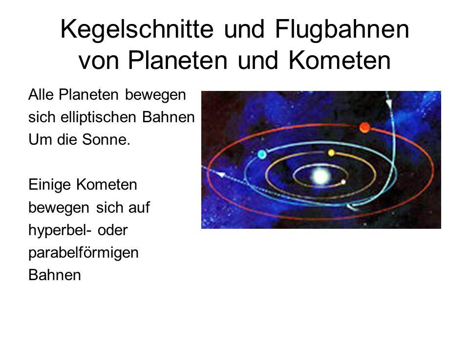 Kegelschnitte und Flugbahnen von Planeten und Kometen