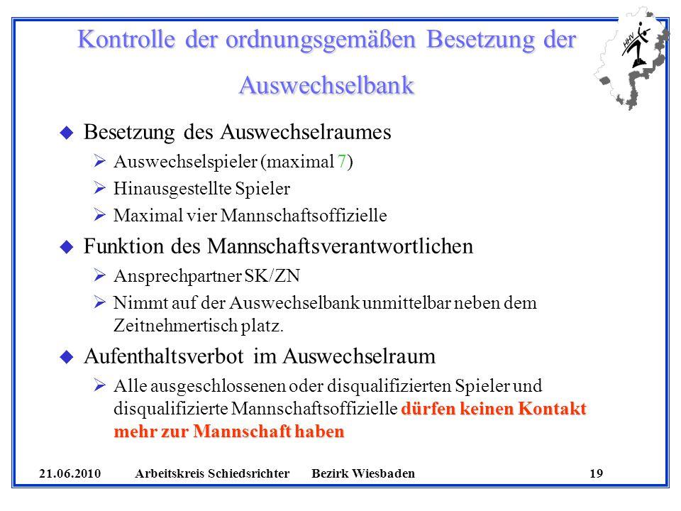 Kontrolle der ordnungsgemäßen Besetzung der Auswechselbank