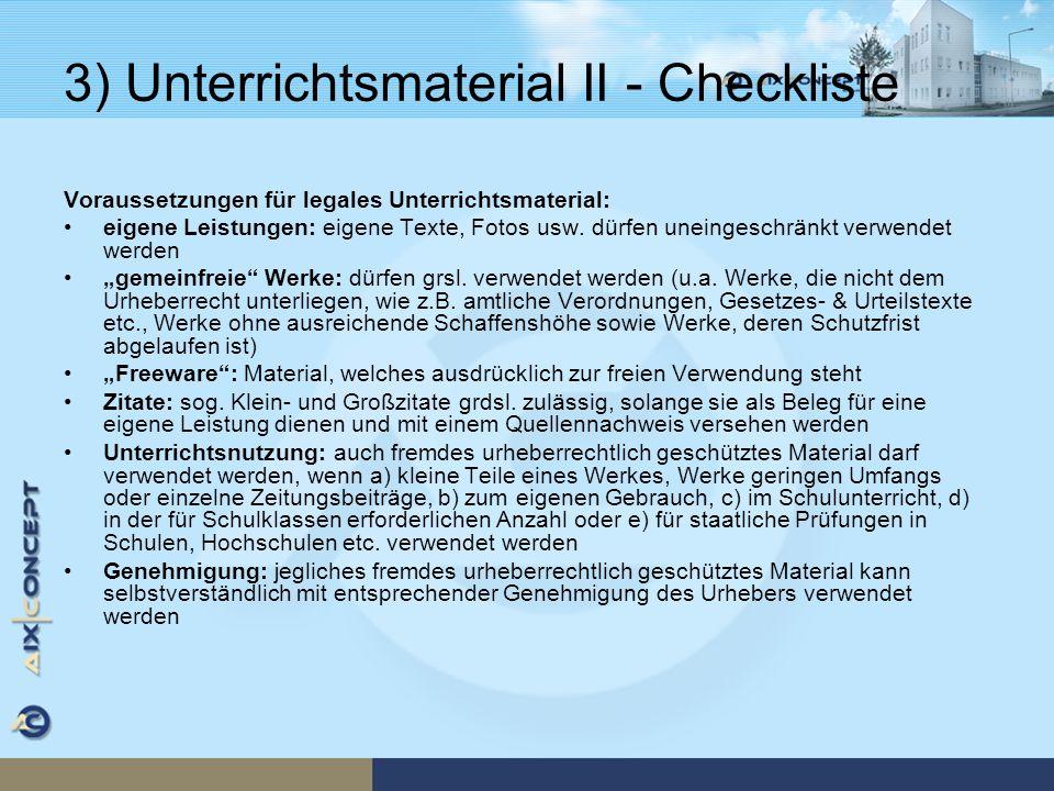 3) Unterrichtsmaterial II - Checkliste