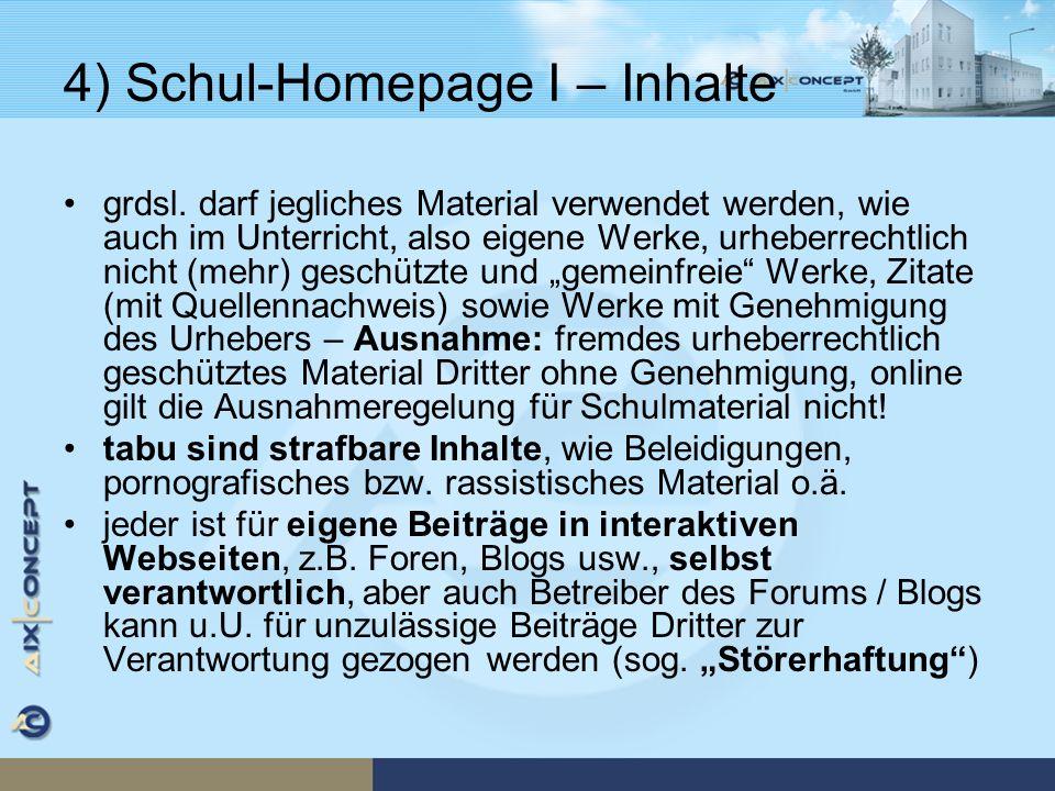 4) Schul-Homepage I – Inhalte