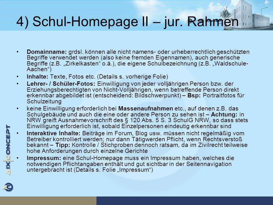 4) Schul-Homepage II – jur. Rahmen