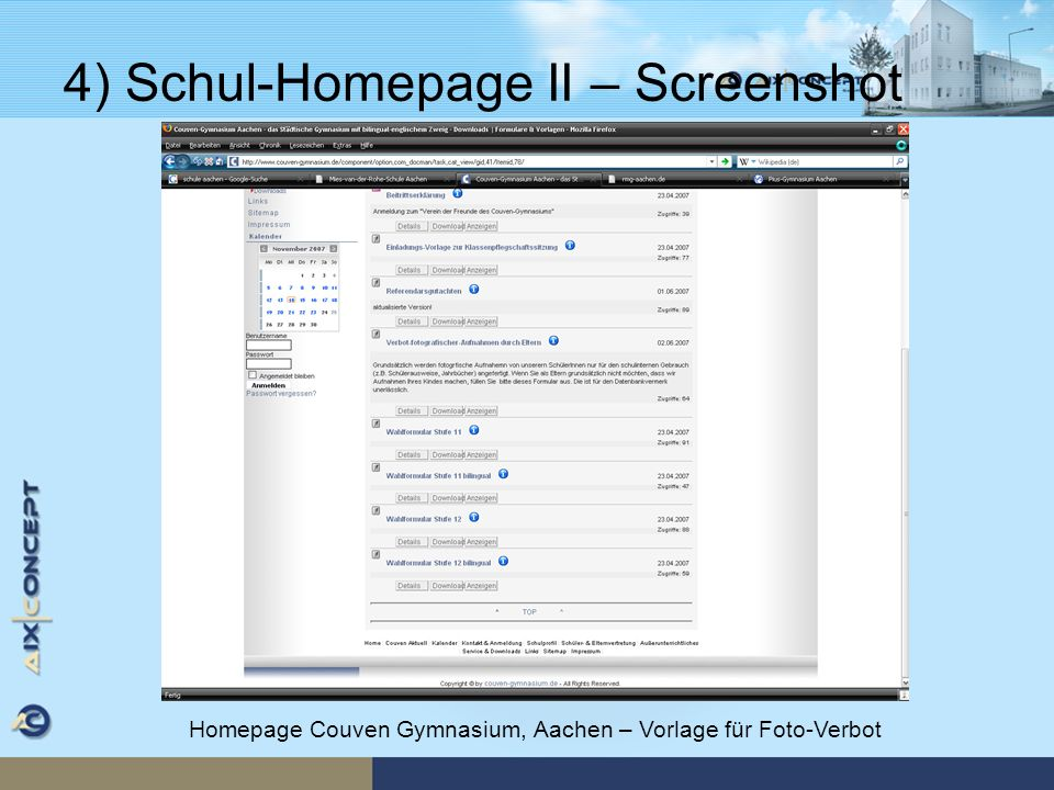4) Schul-Homepage II – Screenshot