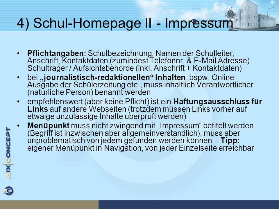4) Schul-Homepage II - Impressum