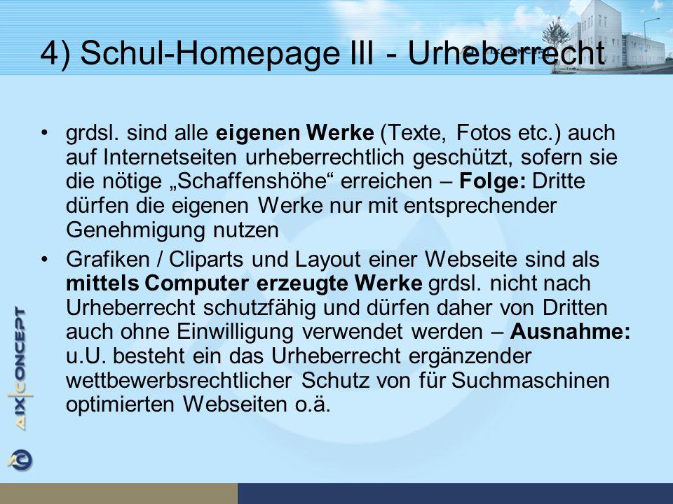 4) Schul-Homepage III - Urheberrecht