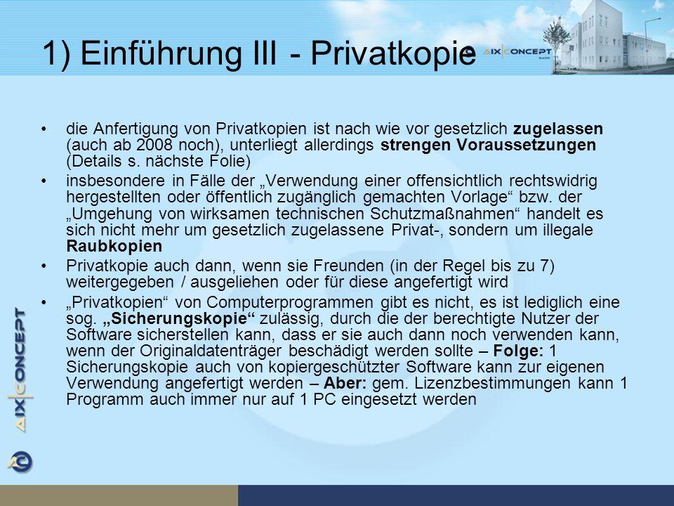 1) Einführung III - Privatkopie