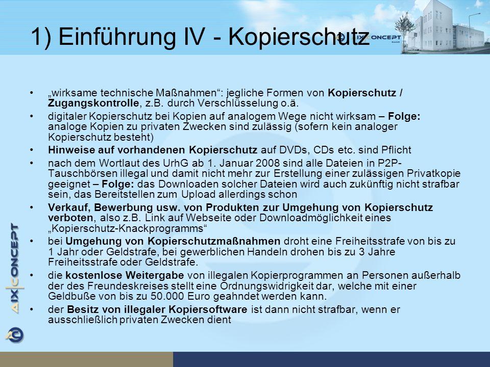 1) Einführung IV - Kopierschutz