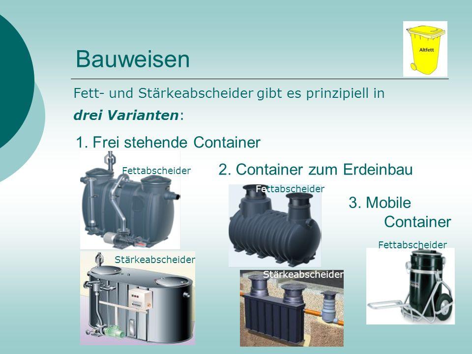 Bauweisen 1. Frei stehende Container 2. Container zum Erdeinbau