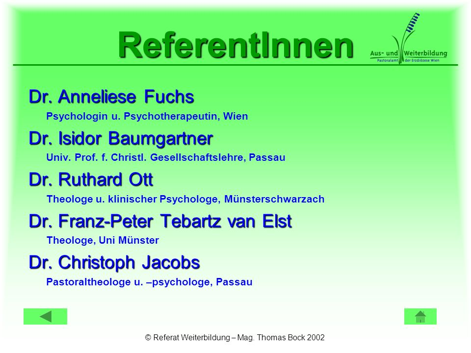 © Referat Weiterbildung – Mag. Thomas Bock 2002