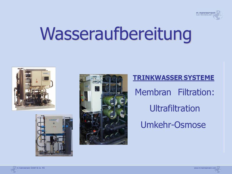 Wasseraufbereitung Membran Filtration: Ultrafiltration Umkehr-Osmose
