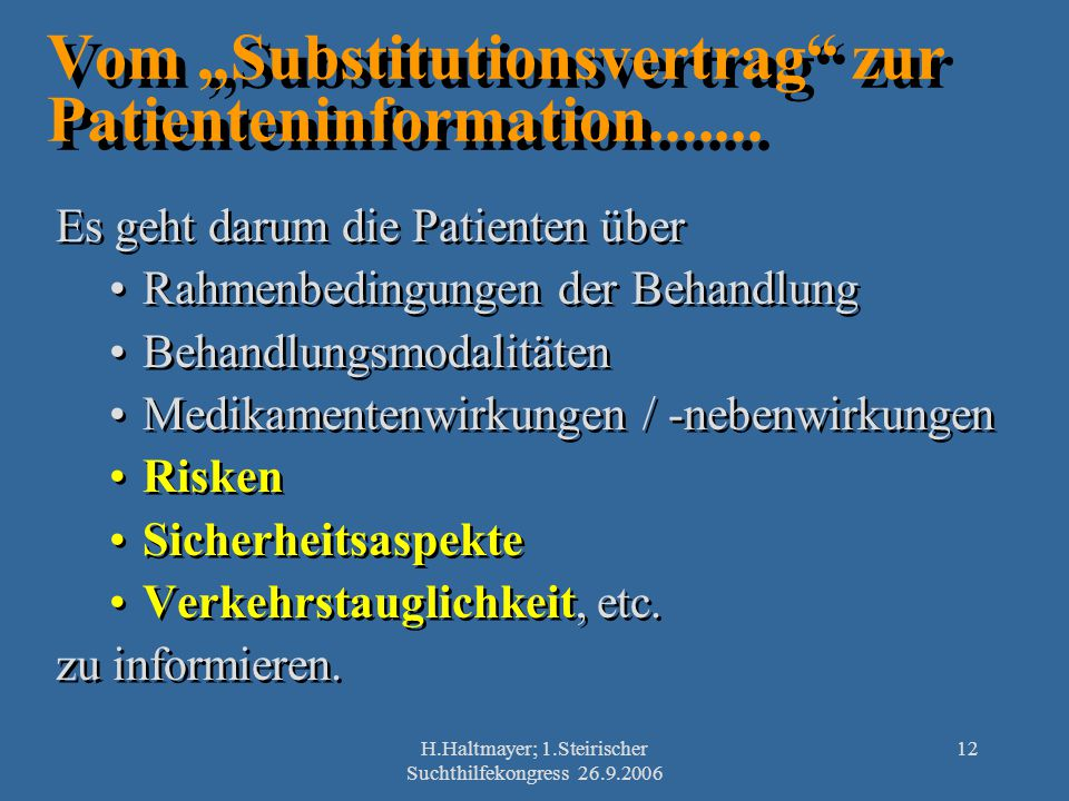 """Vom """"Substitutionsvertrag zur Patienteninformation......."""